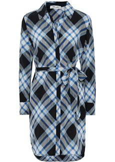 Diane Von Furstenberg Woman Belted Checked Silk Crepe De Chine Shirt Dress Multicolor