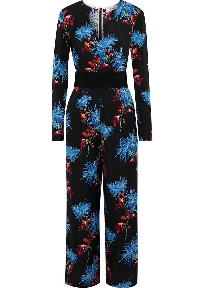 Diane Von Furstenberg Woman Belted Floral-print Silk Jumpsuit Black