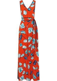 Diane Von Furstenberg Woman Belted Floral-print Silk Jumpsuit Tomato Red