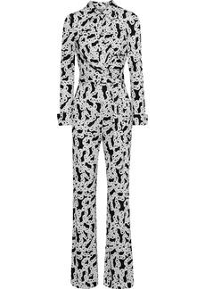 Diane Von Furstenberg Woman Michele Wrap-effect Printed Silk-jersey Jumpsuit White