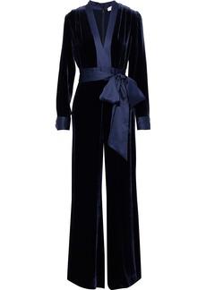 Diane Von Furstenberg Woman Belted Satin-trimmed Velvet Wide-leg Jumpsuit Navy