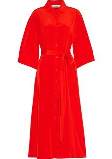 Diane Von Furstenberg Woman Belted Silk Crepe De Chine Midi Shirt Dress Tomato Red