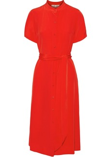 Diane Von Furstenberg Woman Addilyn Belted Silk Crepe De Chine Dress Red