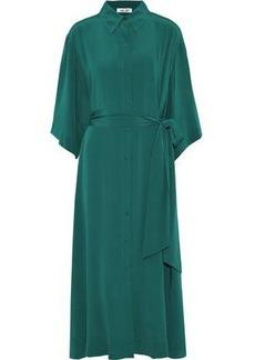 Diane Von Furstenberg Woman Belted Silk-satin Midi Shirt Dress Emerald
