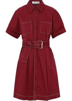 Diane Von Furstenberg Woman Belted Stretch-cotton Mini Shirt Dress Brick