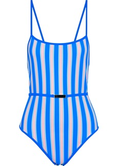 Diane Von Furstenberg Woman Belted Striped Swimsuit Blue