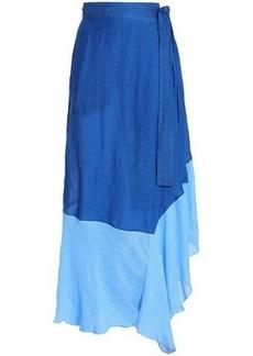Diane Von Furstenberg Woman Belted Two-tone Linen-blend Gauze Maxi Skirt Cobalt Blue