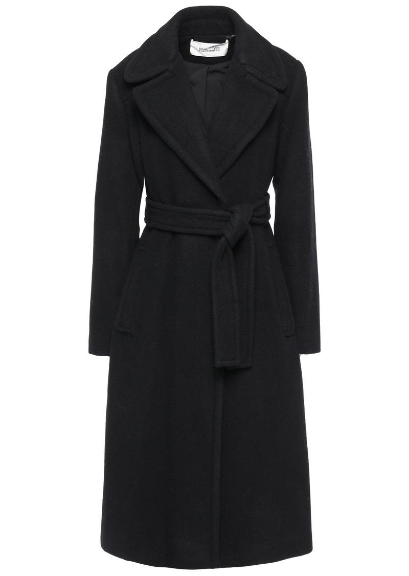 Diane Von Furstenberg Woman Belted Wool-blend Felt Coat Black