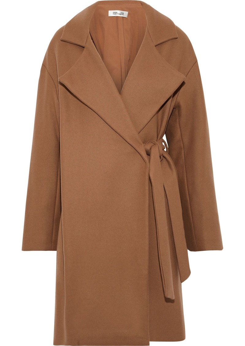 Diane Von Furstenberg Woman Belted Wool-blend Felt Coat Camel