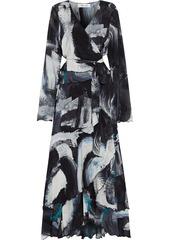 Diane Von Furstenberg Woman Bernyce Asymmetric Printed Stretch-mesh Maxi Wrap Dress Black