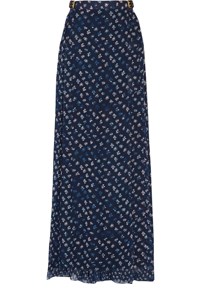 Diane Von Furstenberg Woman Bethune Floral-print Silk-georgette Maxi Skirt Navy