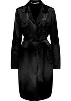 Diane Von Furstenberg Woman Blaine Belted Satin Trench Coat Black
