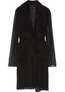 Diane Von Furstenberg Woman Blaine Belted Silk-georgette Jacket Black