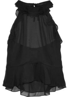 Diane Von Furstenberg Woman Blithe Ruffled Silk-chiffon Halterneck Top Black