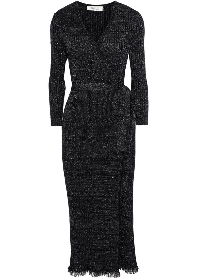 Diane Von Furstenberg Woman Bobbi Metallic Ribbed Wool-blend Midi Wrap Dress Black