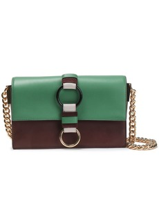 Diane Von Furstenberg Woman Bonne Journée Color-block Leather Shoulder Bag Green