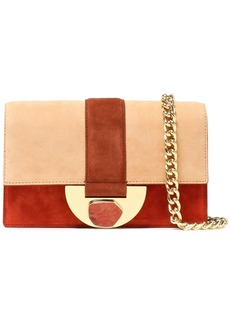 Diane Von Furstenberg Woman Bonne Journée Color-block Suede Shoulder Bag Beige