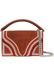 Diane Von Furstenberg Woman Bonne Soirée Leather-paneled Striped Suede Shoulder Bag Brown