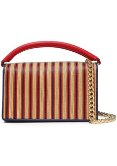 Diane Von Furstenberg Woman Bonne Soirée Striped Faux Raffia-paneled Leather Shoulder Bag Red