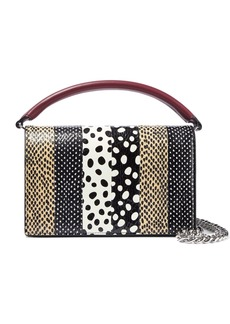 Diane Von Furstenberg Woman Bonne Soiree Printed Watersnake-paneled Leather Shoulder Bag Black