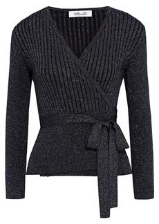 Diane Von Furstenberg Woman Bonnie Ribbed Metallic Merino Wool-blend Wrap Cardigan Black