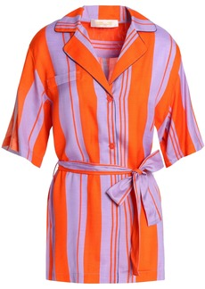 Diane Von Furstenberg Woman Bow-detailed Striped Silk-blend Shirt Bright Orange
