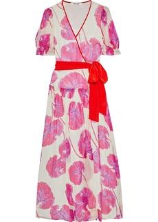 Diane Von Furstenberg Woman Breeze Printed Crinkled Silk-chiffon Maxi Wrap Dress Ivory