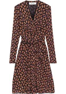 Diane Von Furstenberg Woman Brenda Wrap-effect Printed Stretch-mesh Dress Black