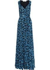 Diane Von Furstenberg Woman Brennan Floral-print Georgette Maxi Wrap Dress Indigo
