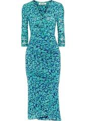 Diane Von Furstenberg Woman Briella Ruched Printed Stretch-mesh Midi Dress Turquoise