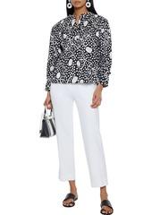 Diane Von Furstenberg Woman Britton Gathered Printed Cotton-poplin Blouse Midnight Blue