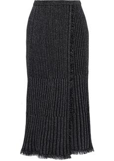 Diane Von Furstenberg Woman Brooklyn Wrap-effect Pleated Metallic Merino Wool-blend Midi Skirt Black