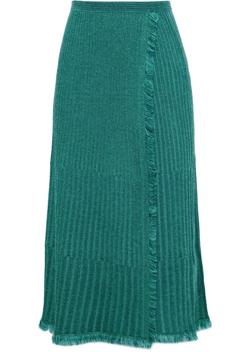 Diane Von Furstenberg Woman Brooklyn Wrap-effect Pleated Metallic Merino Wool-blend Midi Skirt Teal