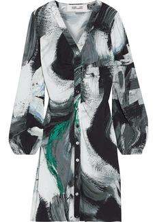 Diane Von Furstenberg Woman Calico Ruched Printed Crepe Mini Dress Black