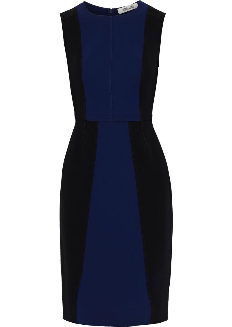 Diane Von Furstenberg Woman Calliope Two-tone Cady Dress Navy