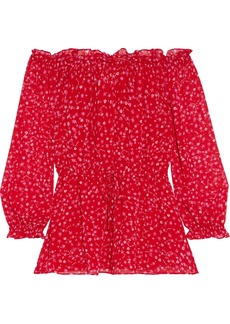 Diane Von Furstenberg Woman Camila Off-the-shoulder Floral-print Chiffon Top Red