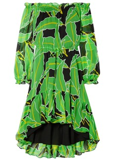 Diane Von Furstenberg Woman Camilla Off-the-shoulder Printed Silk-chiffon Dress Lime Green