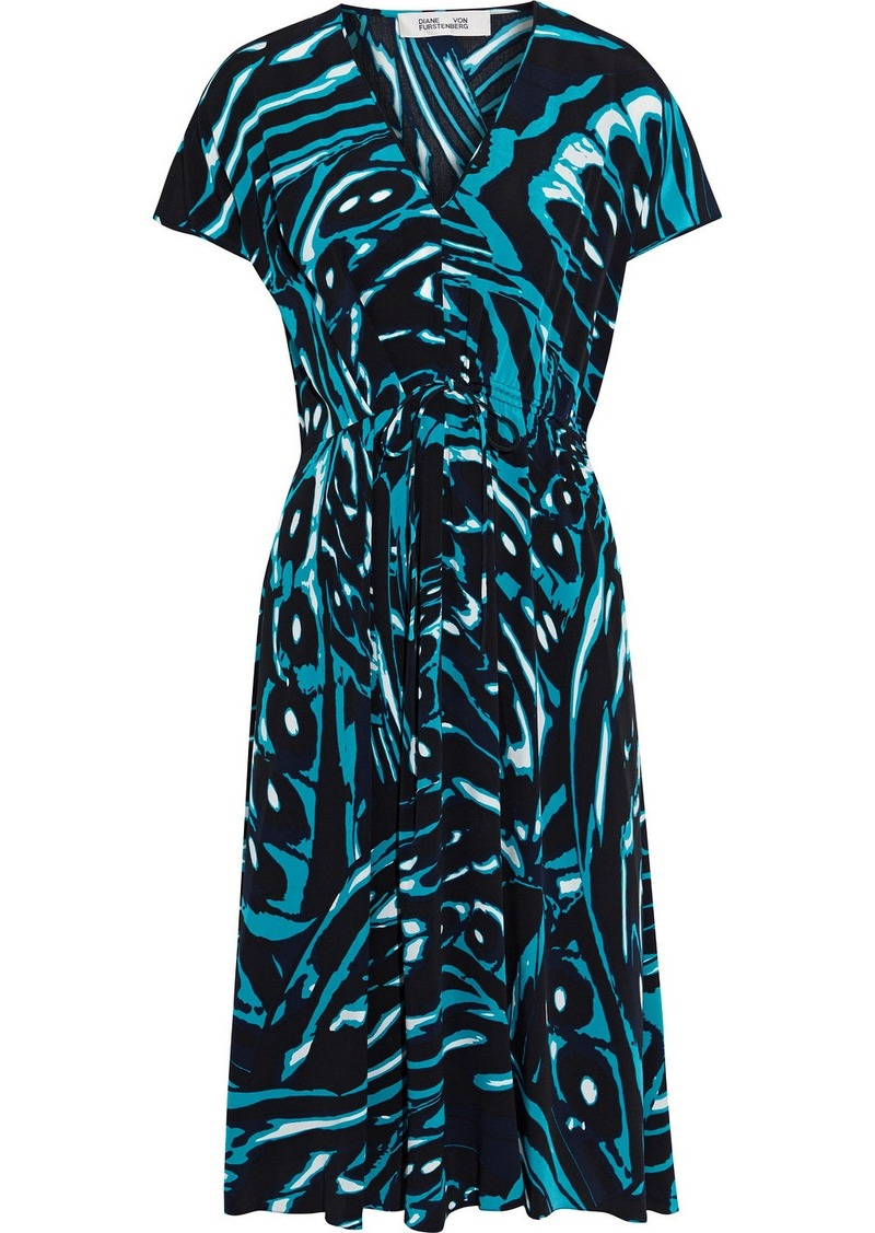 Diane Von Furstenberg Woman Cardea Gathered Printed Silk Crepe De Chine Dress Turquoise
