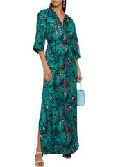 Diane Von Furstenberg Woman Caris Belted Printed Silk-twill Maxi Dress Emerald