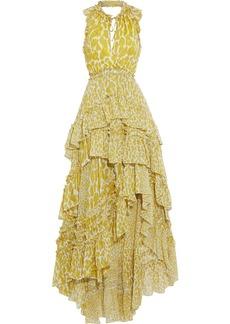 Diane Von Furstenberg Woman Carissa Asymmetric Tiered Leopard-print Silk-georgette Maxi Dress Marigold