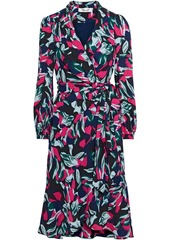Diane Von Furstenberg Woman Carla Two Floral-print Crepe Wrap Dress Navy
