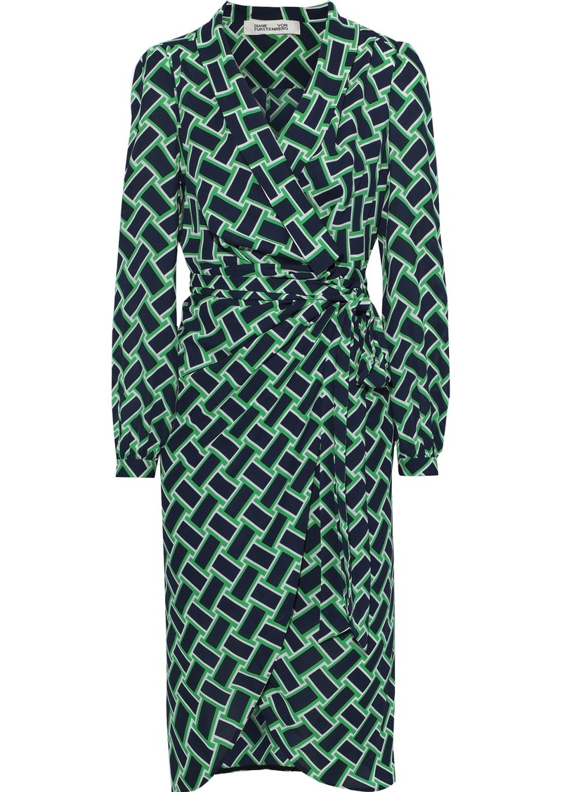 Diane Von Furstenberg Woman Carla Printed Crepe Wrap Dress Navy