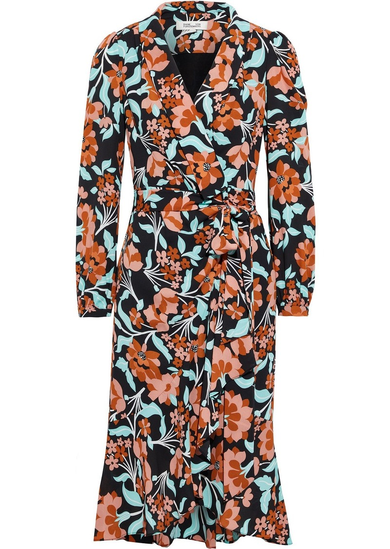 Diane Von Furstenberg Woman Carla Two Floral-print Crepe Wrap Dress Orange
