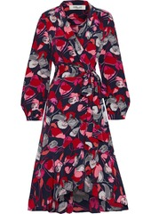 Diane Von Furstenberg Woman Carla Two Ruffled Printed Silk Crepe De Chine Wrap Dress Red