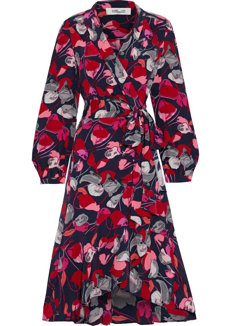 Diane Von Furstenberg Woman Carla Two Ruffled Printed Silk Crepe De Chine Wrap Dress Navy