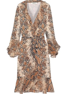 Diane Von Furstenberg Woman Carli Ruffled Printed Georgette-paneled Silk-jersey Wrap Dress Light Brown