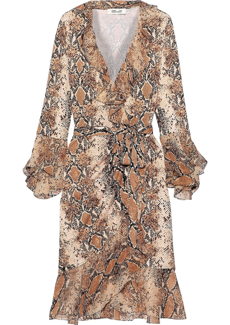Diane Von Furstenberg Woman Carli Ruffled Snake-print Georgette-paneled Silk-jersey Wrap Dress Light Brown