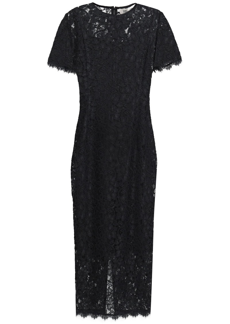 Diane Von Furstenberg Woman Corded Lace Midi Dress Black