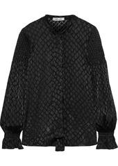 Diane Von Furstenberg Woman Caroline Tie-neck Shirred  Burnout Satin Blouse Black