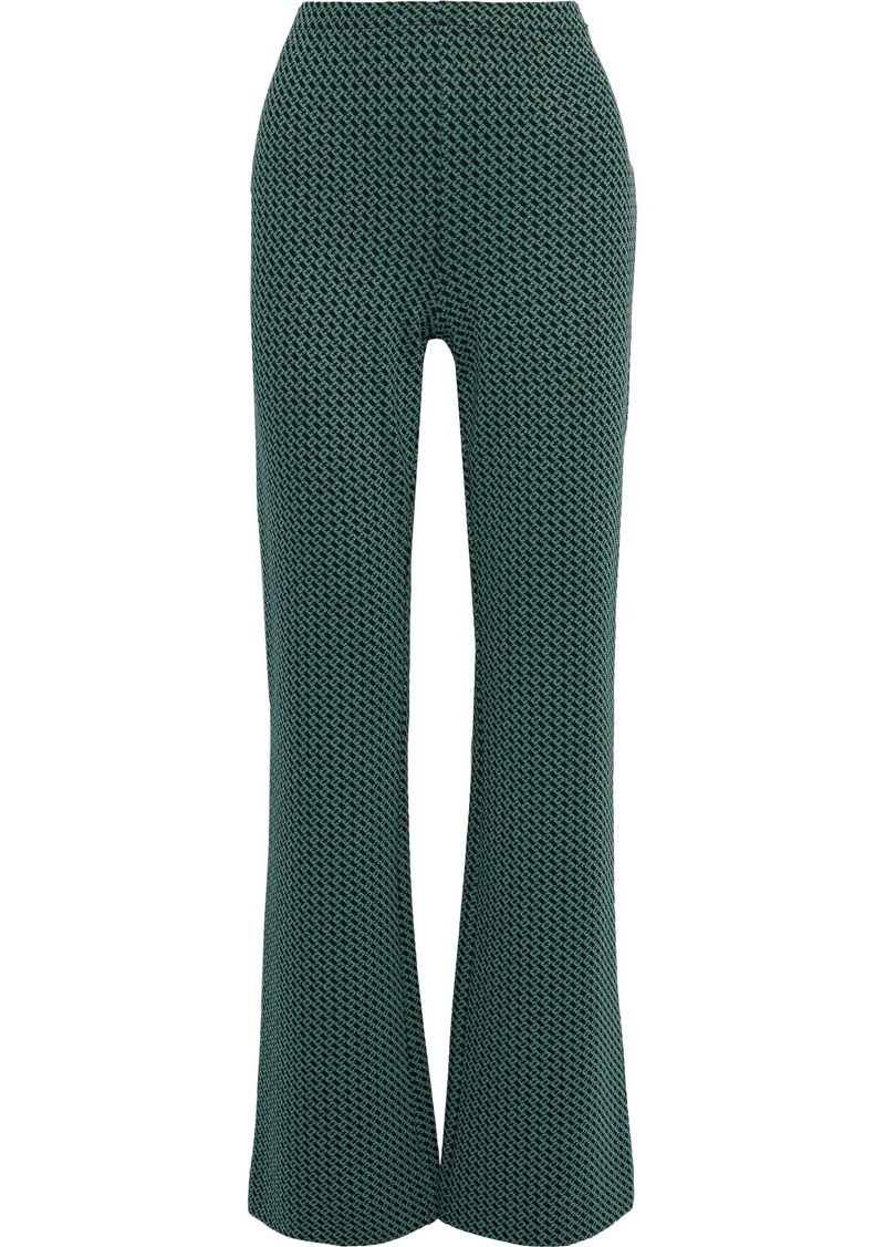 Diane Von Furstenberg Woman Caspian Jacquard-knit Flared Pants Forest Green